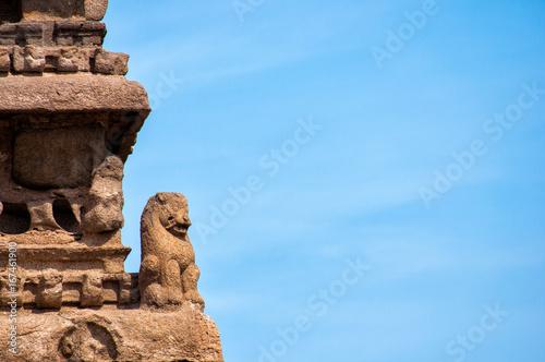 Detail of sculpture in Shore Temple, Mahabalipuram, Chennai, Tamil Nadu, India Canvas-taulu
