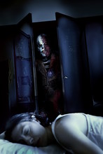 Scary Clown Mask In The Wardrobe In Haunted Mad House