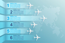 Infographic Airplane And World Map. Vector Illustration