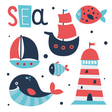 Cute Sea Elements Set