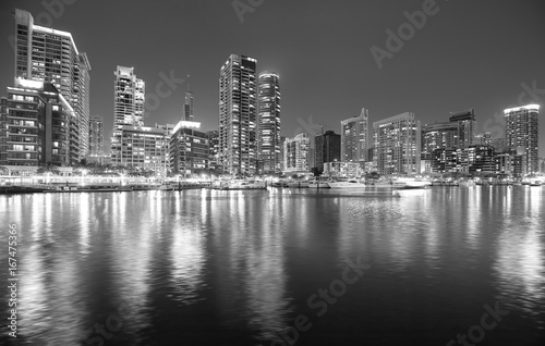 Deurstickers New York City Black and white picture of Dubai marina at night, UAE.