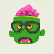 Cartoon Zombie Face Wearing Eyeglasses Cartoon. Zombi Nerd. Halloween Vector Illustration