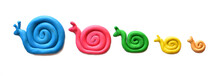 Plasticine Colored Snails Isolated