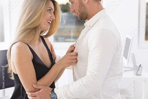 Photo Blond woman and a man