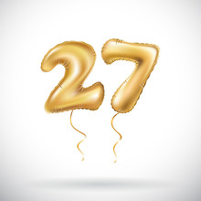 Vector Golden Number 27 Twenty Seven Metallic Balloon. Party Decoration Golden Balloons. Anniversary Sign For Happy Holiday, Celebration, Birthday, Carnival, New Year.