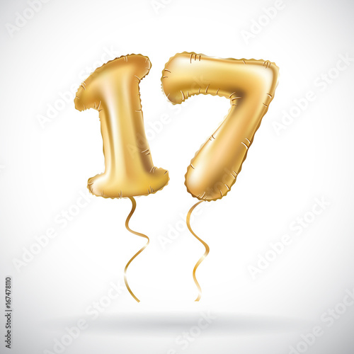 Vector Golden Number 17 Seventeen Metallic Balloon Party Decoration Balloons Anniversary Sign For