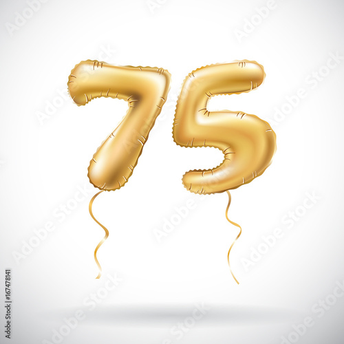 Vector Golden Number 75 Seventy Five Metallic Balloon Party Decoration Balloons Anniversary Sign