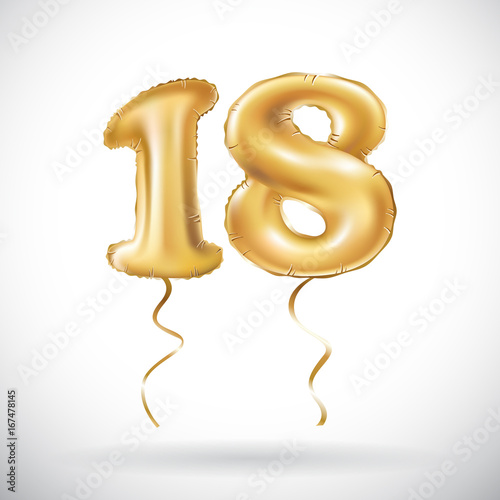 Photographie  vector Golden number 18 eighteen metallic balloon