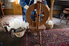 Woman Using Old Fashioned Loom