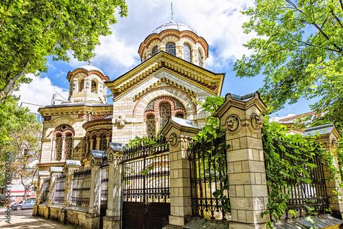 Obraz Saint Panteleimon church, parcalab street in the chisinau downtown, blue sky and clouds - fototapety do salonu
