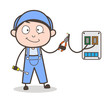 Cartoon Electrician Worker Vector Illustration