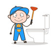 Cartoon Plumber Cleaning with Plunger Vector Illustration
