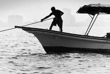 Silhouette Of Mexican Boatsman...