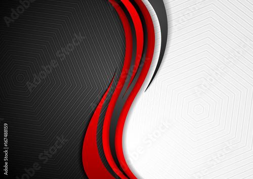 Obraz Abstract red black grey wavy tech background - fototapety do salonu