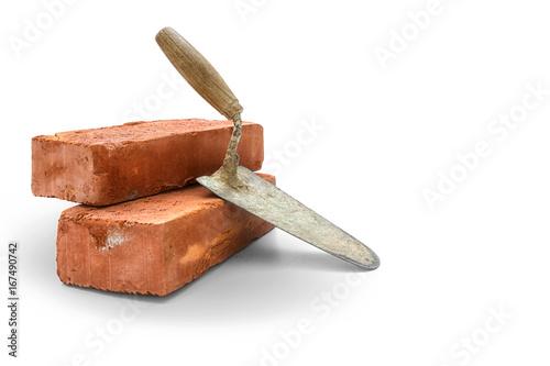 Fototapeta Bricks and trowel obraz