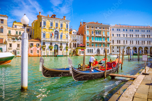 Poster Venice Panoramic view of famous Grand Canal in Venice, Italy