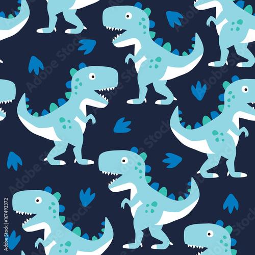 Materiał do szycia ilustracja wektorowa wzór bezszwowe dinozaur