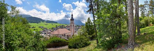 Plakat Panorama letniskowa Castelrotto w Południowym Tyrolu