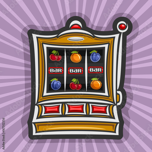 Vector poster for Slot Machine: gambling logo for online casino on rays of light background, gamble sign with isolated vintage slot machine, on reel: lucky symbol of jackpot 3 bar in a row & fruits плакат