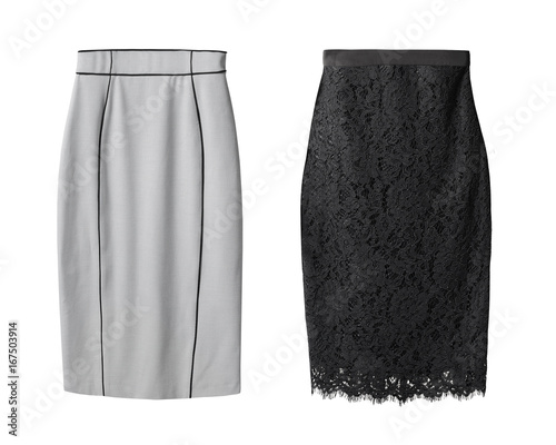 2 office pencil business skirt s with black lace and gray cotton isolated on whi Canvas Print