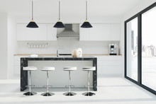 White Kitchen Interior, Dark M...