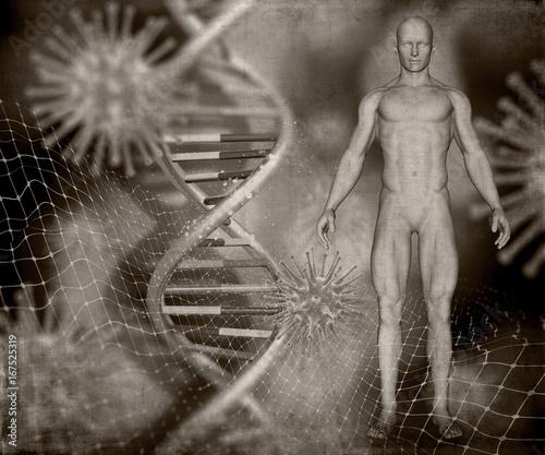 3d-obrazu-medycznego-stylu-grunge-z-meskiej-postaci-nici-dna-i-komorek-wirusa