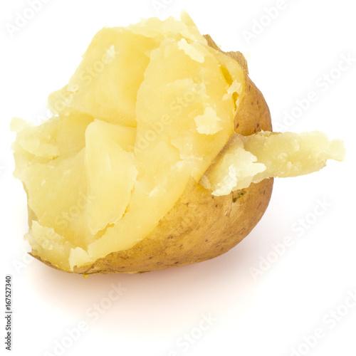 Fototapeta one boiled peeled potato half isolated on white background cutout obraz