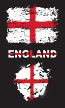 Grunge Elements With Flag Of England. All Flags, Colors And Text Are Grouped And Layered Separately.