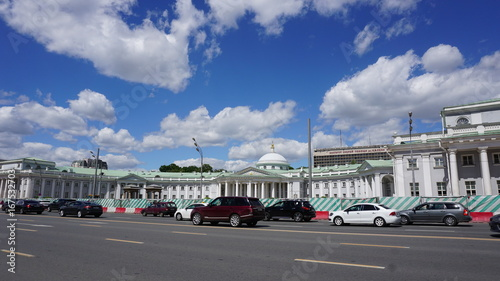 Foto op Canvas Stadion Russia Moscow cars and road