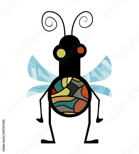 Foto auf AluDibond Ziehen Imaginative fly illustration