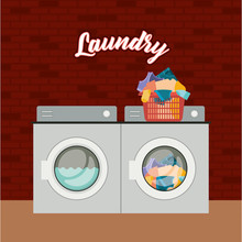 Brick Wall Background Of Set Wash Machine Laundry An Pile Dirty Clothes In Plastic Basin