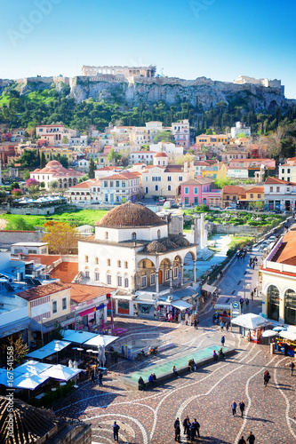 Poster Athens Cityscape of Athenth with Moanstiraki square and Acropolis hill, Athens Greece, retro toned