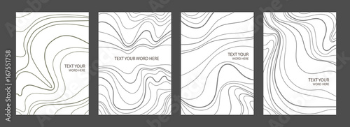 Fototapeta Set of 4 minimal marble graphic covers design. Simple poster template in black and white. obraz