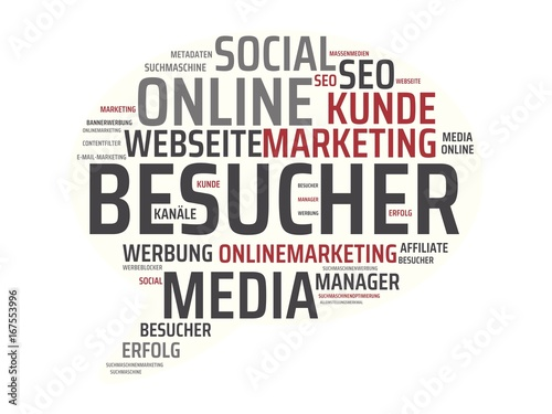 Fotografie, Obraz  BESUCHER - Bilder mit Wörtern aus dem Bereich Onlinemarketing, Wort, Bild, Illus