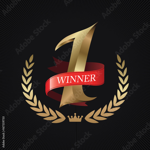 winner number one gold with red ribbon winner logo gold branch on