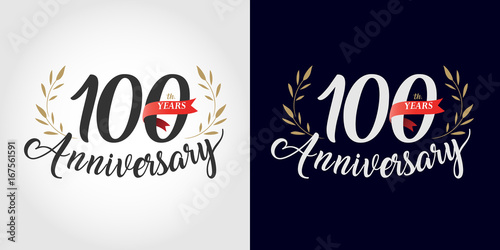 Fotografia  100 years anniversary number hand lettering and golden laurel wreath