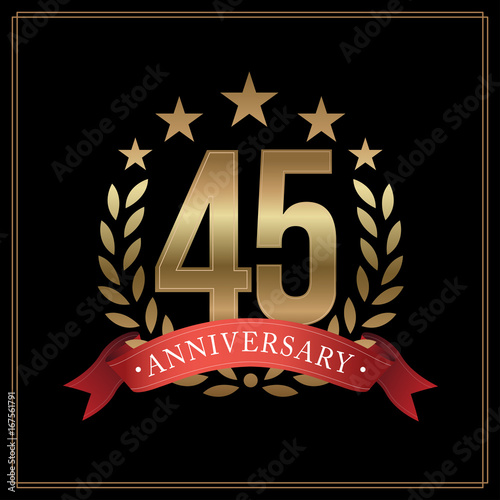 Photographie  45 years golden anniversary logo, with star, red ribbon, and  laurel wreath isol