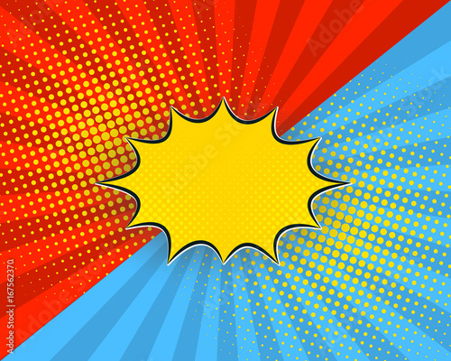 Staande foto Pop Art Pop art cartoon background, vector illustration. Red, blue rays, yellow dots, explosion bubble half tone vintage style.