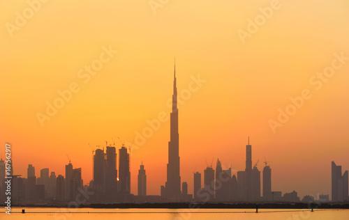 Fototapety, obrazy: Dubai city skyline at sunset