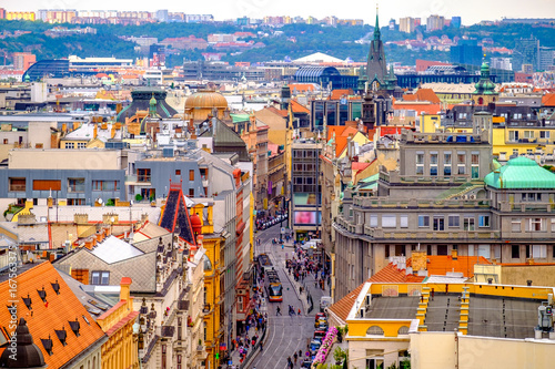 Aerial view from The New Town Hall Tower in the old center of Prague - the capital and largest city of the Czech Republic Poster