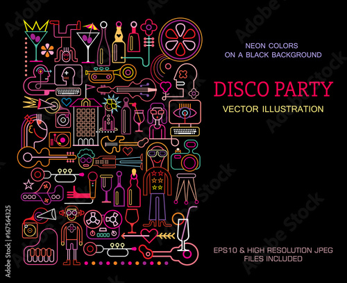 Door stickers Abstract Art Disco Party poster template design