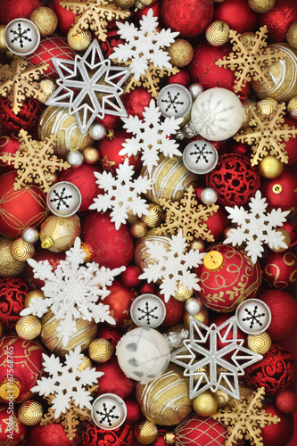 Snowflake And Red White And Gold Christmas Bauble Decorations Forming An Abstract Background Buy This Stock Photo And Explore Similar Images At Adobe Stock Adobe Stock
