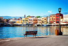 View Of Venetian Habour Of Chania At Sunny Day, Crete, Greece, Retro Toned