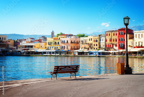Aluminium Prints Blue view of venetian habour of Chania at sunny day, Crete, Greece, retro toned