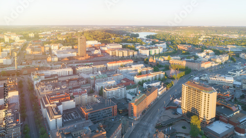 Vue aerienne Aerial view Tampere city with beauty sunset