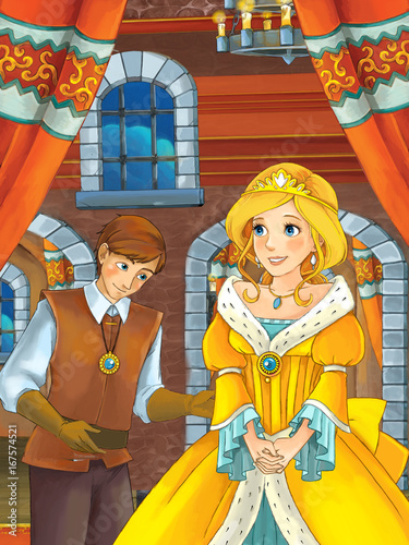 Cartoon Scene With Prince And Princess Talking Together In The