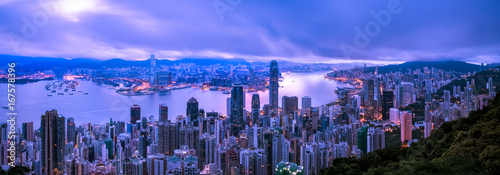 Garden Poster Beautiful morning Hong Kong city view from The Peak at twilight
