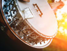 Silver Metalic Banjo On The Stone Stairs