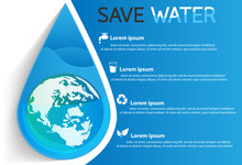 Save Water Info Graphic Design...