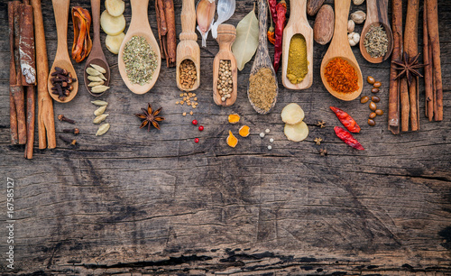 Printed kitchen splashbacks Spices Various of spices and herbs in wooden spoons. Flat lay of spices ingredients chilli ,pepper corn, garlic, thyme, oregano, cinnamon, star anise, nutmeg, mace, ginger and bay leaves on shabby wooden.
